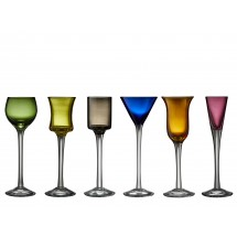Lyngby Glas Snapseglas på fod 6 stk i assorterede farver