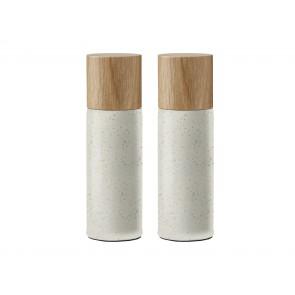 Bitz Salt- & peberkværnsæt 16,7 cm i mat creme med top i egetræ