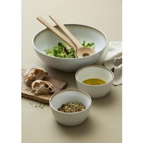 Bitz Salatskål 30 cm i mat creme stentøj med blank creme glasur på indersiden
