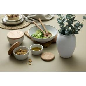 Bitz Salatskål 24 cm i mat creme stentøj med blank creme glasur på indersiden