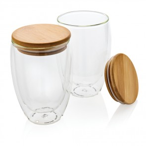 Dobbelt væg borosilikat glas med bambus låg 350ml 2 stk.