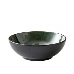 Bitz Salatskål dia. 30 cm i sort stentøj med grøn glasur
