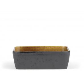 Bitz Fad 19x14 cm i sort stentøj med blank amber glasur på indersiden
