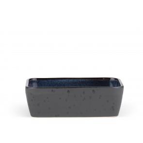 Bitz Fad 19x14 cm i sort stentøj med blank mørkeblå glasur på indersiden