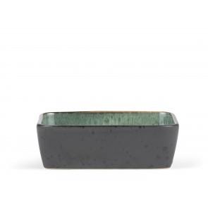 Bitz Fad 19x14 cm i sort stentøj med blank grøn glasur på indersiden