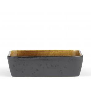 Bitz Fad 30x17 cm i sort stentøj med blank amber glasur på indersiden