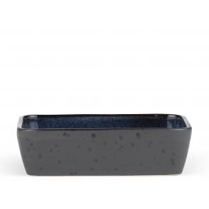 Bitz Fad 30x17 cm i sort stentøj med blank mørkeblå glasur på indersiden