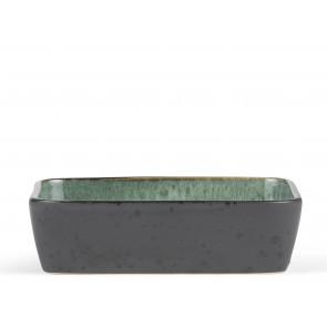 Bitz Fad 30x17 cm i sort stentøj med blank grøn glasur på indersiden
