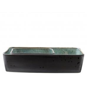 Bitz ovnfastefade 2 dele sort stentøj med grøn glasur
