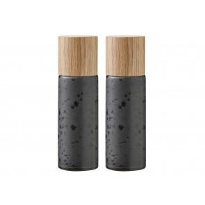 Bitz Salt- & peberkværnsæt 16,7 cm i mat sort stentøj med top i egetræ