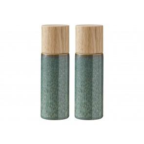 Bitz Salt- & peberkværnsæt 16,7 cm i grøn med top i egetræ