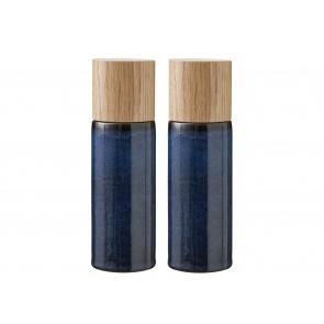 Bitz Salt- & peberkværnsæt 16,7 cm i mørkeblå med top i egetræ