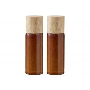 Bitz Salt- & peberkværnsæt 16,7 cm i amber med top i egetræ