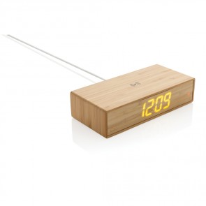 Bambus vækkeur med 5w trådløs oplader
