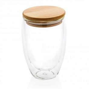 Dobbelt væg borosilikat glas med bambus låg 250ml, 2 stk.